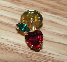 Teacher Gift Pin / Brooch *Read Unbranded Gold Tone Collectible Ruby Style Apple