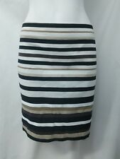 White House Black Market Brown Tan Striped Career Lined Pencil Skirt Size 4