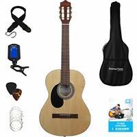 """Classic Acoustic Guitar Starter Kit LEFT HANDED Full Size 39"""" Tuner Gig Bag Wood"""
