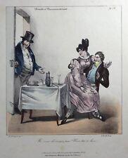 HUMOUR CARICATURE Charles PHILIPON Lithographie Ne vous dérangez pas! 1829