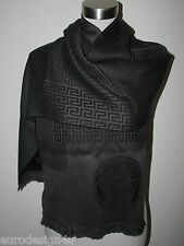 NWT AUTH VERSACE UNISEX 100% WOOL MEDUSA GREY/BLACK KNIT SCARF Made in Italy