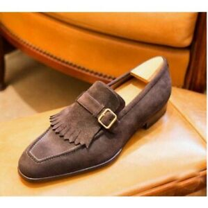 Handmade Men's Fringes, Monk Strap Dress Shoes, Real Suede Office Shoes