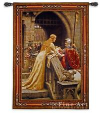 """Medieval TAPESTRY Knight Lady GODSPEED Leighton - BS 76""""x53"""""""