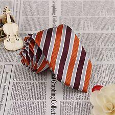 Men Necktie Burgundy Grey Stripes Jacquard Woven 100% Silk Party Neck Tie FS82