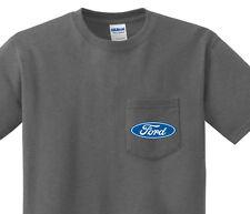Pocket t-shirt men's Ford logo racing mustang pocket tee mens dark gray shirt