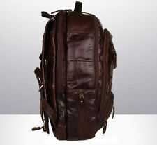 """Men's Genuine Real Leather Leather 18"""" Large Day Backpack Rucksack Travel B"""