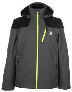 Spyder Vyrse Men's Ski Jacket Black Grey Yellow Size L New with Tag