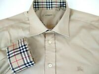 Burberry London Shirt Nova Check Mens Medium Iconic Beige Knight Logo Flip Cuffs
