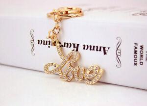Gold Love Letter Crystal Diamante Bag Charms Handbag Keyrings Pendant Key Chain