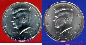 2007 P & D Kennedy Half Dollar 2 Coin Satin Finish Gem Bu Set