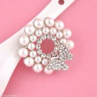 DIAMANTE CRYSTAL BUTTERFLY FAUX PEARL RHINESTONE ALLOY SILVER TONE LARGE BROOCH