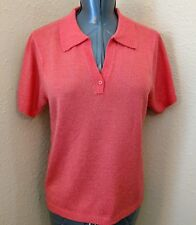 WHITE STAG Women's Knit Top Size L 12/14 Solid Pink Coral Short Sleeve Collared