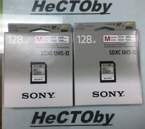 LOT OF 2 SONY 128Gb SDXC UHS II SF-M128 4K XAVCS R 260mb W 100mb