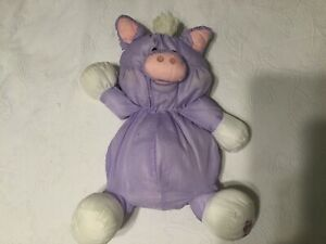 Vintage 80s Fisher Price Purple Pig Plush FP Puffalumps Stuffed Animal 1987