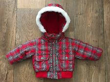 Baby Gap Red Hooded Coat. Size 3-6 Months. VGC.