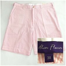 Sz 38 NWT ALAN FLUSSER Mens Flat Front Pink & White Striped Cotton Casual Shorts