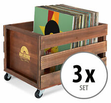 3x Schallplatten Vinyl Box Kiste Aufbewahrung LP 100 Sammlung Plattenkiste Braun