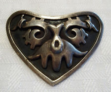 Mid Century Vintage TAXCO Sterling Silver 925 HEART PIN Moctezuma