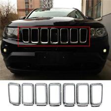 Fits 2011-2016 Jeep Compass Chrome Front Grille Vent Hole Grill Frame Cover Trim