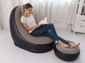 Intex 68564E Inflatable Ultra Lounge Chair With Cup Holder And Ottoman Set, Gray