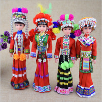 2PCS Oriental Broider Doll,Chinese Old style figurine China doll girl