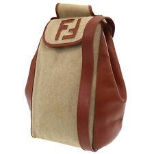 FENDI Logos Shoulder Bag Beige Brown Linen Leather Italy Vintage Auth #LL448 O