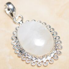 """Fire White Rainbow Moonstone Opal 925 Sterling Silver 2"""" Pendant #P08031"""