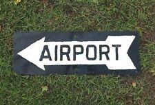 Vintage Steel Embossed Airport Arrow Sign, Airplane, Man Cave, Pole Barn, Garage