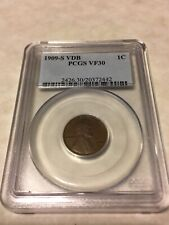 1909 S VDB PCGS VF30 1C Lincoln Cent Wheat Ears Penny very good coin for VF30