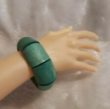 RETRO Wooden green stretch Bangle Chunky Wide Mod Boho Stacking Summer