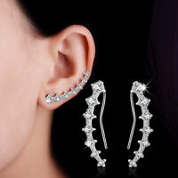 Beauty Fashion 925 Sterling Silver Inlaid Natural Zircon Ear Clip Cuff Earrings