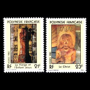 French Polynesia 1983 - Religious Sculptures (3 Values) - Sc 376/8 MNH