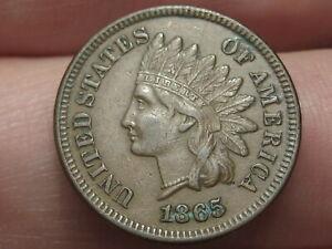 1865 Indian Head Cent Penny- Fancy 5, XF/AU Details, 3 Diamonds!