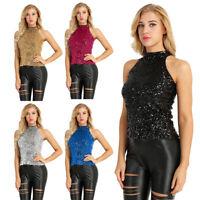 Women Girls Shimmer Sequins Embellished Vest Tank Top Pullover Blouse Camisole