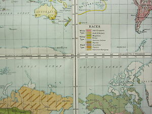 1919 LARGE MAP ~ THE WORLD SHOWING POPULATION RACES OCCUPATIONS & RELIGIONS