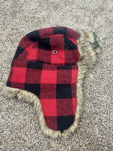Red Flannel Buffalo Plaid Trappers Hat By Gap Size S/M Ear Flaps And Fur Trim