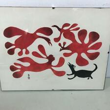 "Vintage Calendar Art Print By Kenojuak ""Dogs See The Spirits"" February Eskimo"
