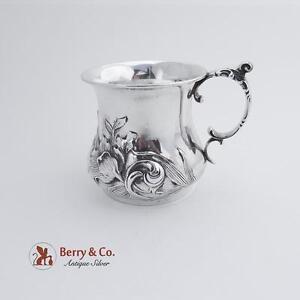 Ornate Repousse Cup Art Nouveau Iris Decoration International Silver Co 1910