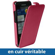 Etui Cuir Véritable Rose avec rabat pour Samsung i9100 Galaxy S2 Coque Housse