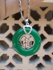 Pretty Green jade silver Blessing pendant and Necklace