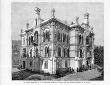 Stampa antica STRESA Villa della Duchessa di Genova Lago Maggiore 1885 Old print