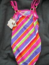 GIRLS JOHN LEWIS STRIPED DESIGN OVER THE SHOULDERS SWIMMING COSTUME AGE 2 BNWT