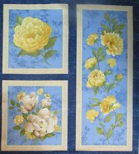 Wilmington Prints Fabric SUNSHINE BOUQUET Yellow and Blue Floral Panels