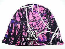 MUDDY GIRL PURPLE PINK CAMO WESTERN FLEECE REVERSIBLE TOBOGGAN BEANIE WINTER HAT