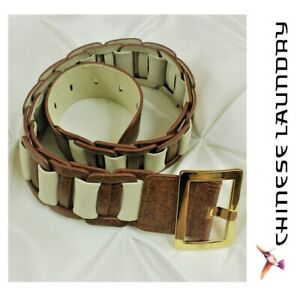 """CHINESE LAUNDRY Cinch Belt Womens XS/S Brown Vegan Leather Beige Canvas 30"""" EUC"""