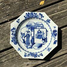 Chinese Qing KANGXI Era Blue & White Porcelain Plate Romance of Western Chamber