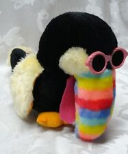 "Vintage Toucan Hip Hop Glasses Rainbow Taiwan ROC Beak Bird Plush 10"" Animal EUC"