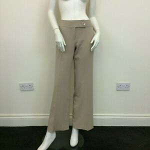 South Ladies Beige Pinstriped Bootcut Flared Tailored Trousers Pants UK Size 10L