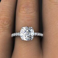 2.00ctw Natural Cushion Cut Pave Diamond Engagement Ring - GIA Certified