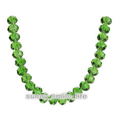 200Pcs Loose Grass Green Crystal Glass Faceted Rondelle Beads 4x3mm Spacer